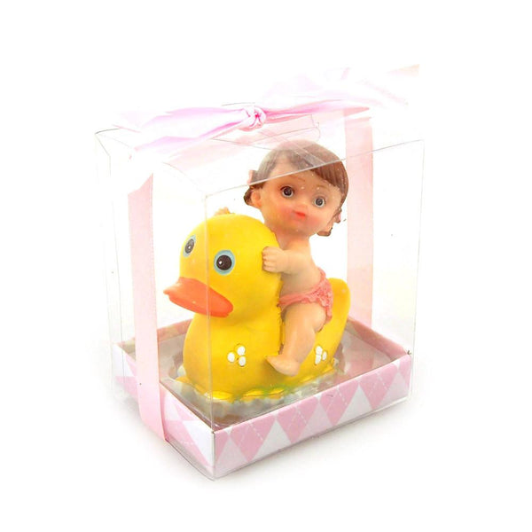 12-Pack, Baby Favors Souvenir, 3-3/4-inch, Baby and Duck, Light Pink