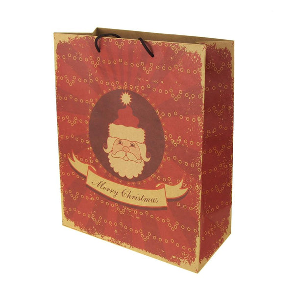 12-Pack, Christmas Kraft Paper Bag with Santa Face Print, Natural/Red, 13-Inch