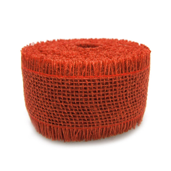 12-Pack, Burlap Ribbon Fringed Edge, 2-1/2-inch, 10-yard, Red