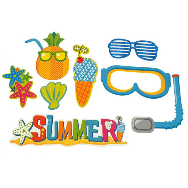 12-Pack, DIY Kid Photo Booth Props, 8-piece, Summer Fun
