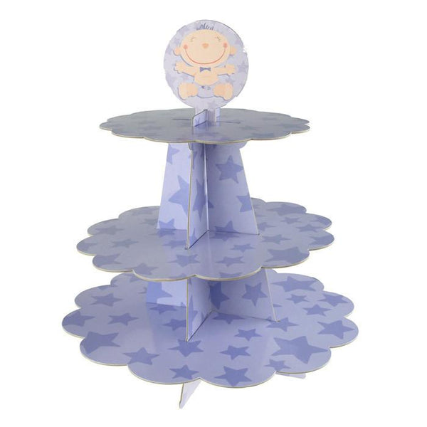 12-Pack, Baby Boy Star Cardboard Cupcake Stand, Lavender, 3-Tier, 14-Inch