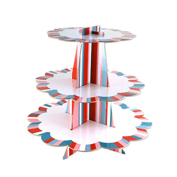 12-Pack, Border Striped Cardboard Cupcake Stand, Assorted, 3-Tier, 14-Inch