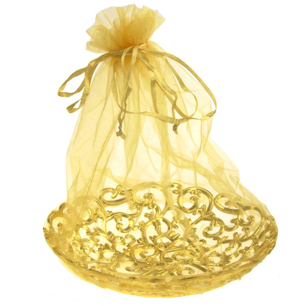 Organza Wrap Basket with Plastic Swirl Tray, 8-Inch, Gold