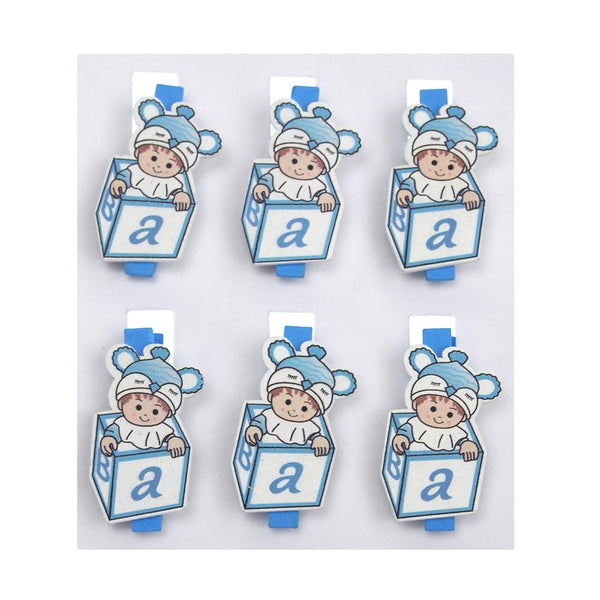 ABC Blocks Wooden Clothespins Baby Favors, 2-Inch, 6-Piece, Blue