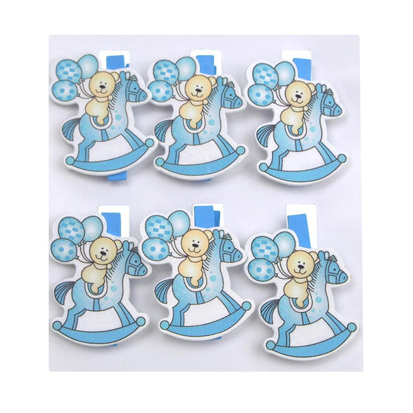 Rocking Horse Wooden Clothespins Baby Favors, 2-Inch, 6-Piece, Blue