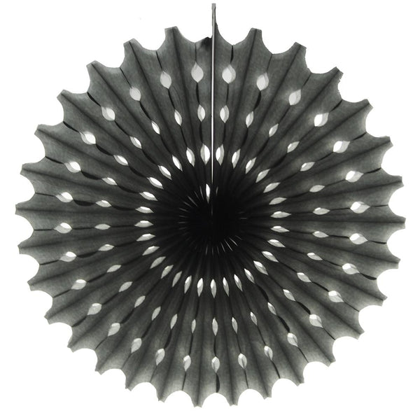 Decoration Hanging Paper Fan, 15-Inch, Black