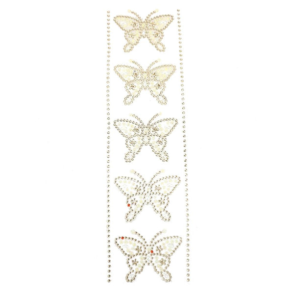 12-Pack, Self Adhesive Butterfly Rhinestone Stickers, 5-Count