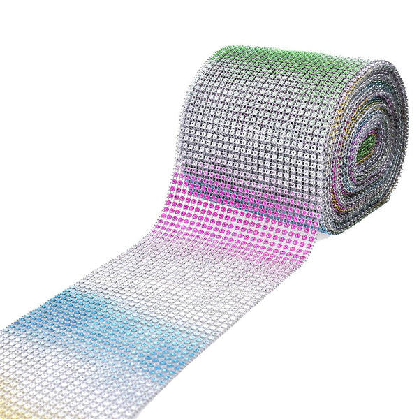 12-Pack, Rainbow Rhinestone Mesh Wrap Ribbon, 4-1/2-Inch, 10-Yard