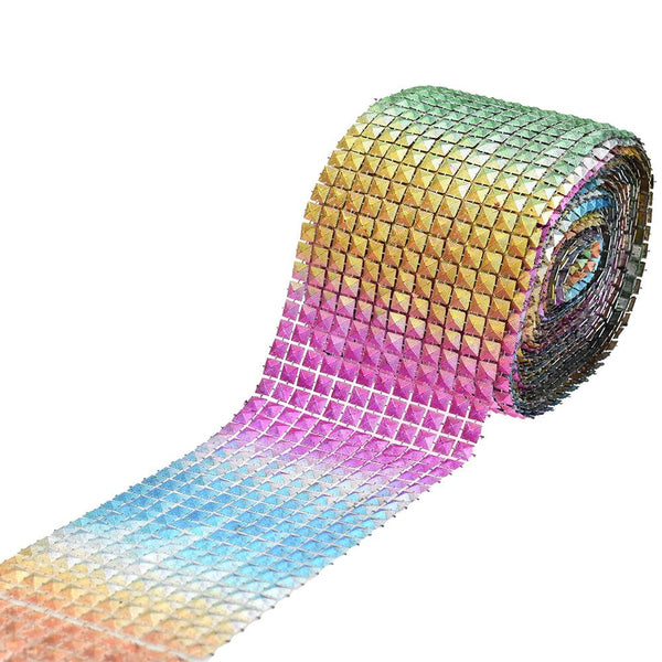 12-Pack, Rainbow Pyramid Stud Mesh Wrap Ribbon, 4-Inch, 10-Yard