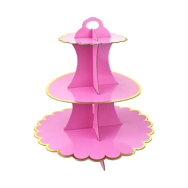 3-Tier Cardboard Cupcake Stand, Pink, 13-Inch