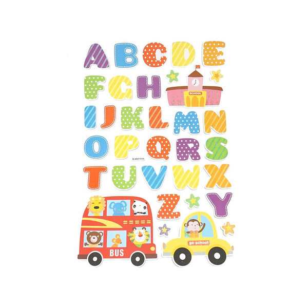 School Days Alphabet Kid's Room Wall Art Stickers, 34-Piece