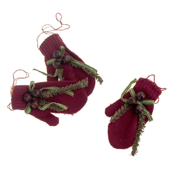 Hanging Polyester Mittens Christmas Tree Ornament, Burgundy Bells, 3-Piece