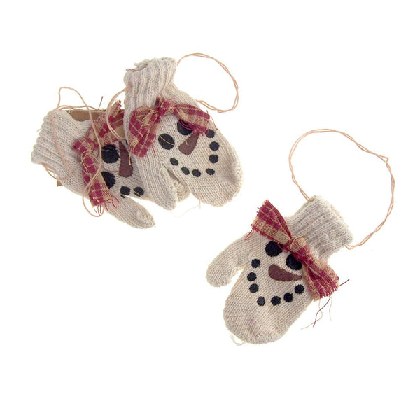 Hanging Polyester Mittens Christmas Tree Ornament, Cream Snowman, 3-Piece