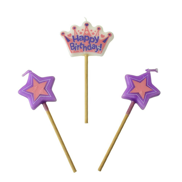 12-Pack, Princess Crown Pick Birthday Candles, 4-Inch, 3-Piece