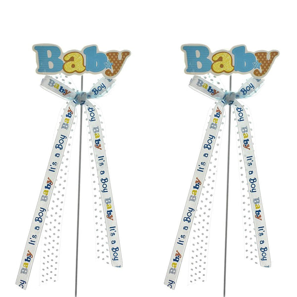 "Baby Shower ""Baby"" Pick With Bow, 9-3/4-Inch, 2-Count, Blue"