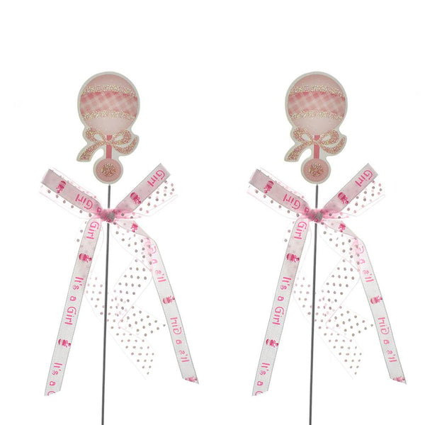 Baby Shower Baby Rattle Pick With Bow, 10-1/4-Inch, 2-Count, Pink