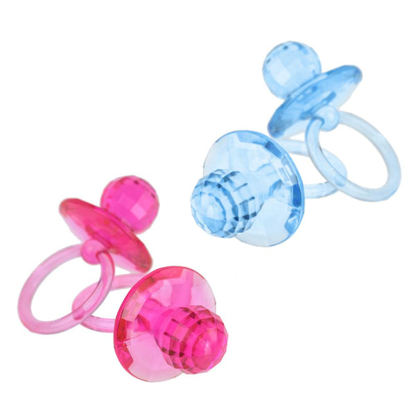 12-Pack, Large Acrylic Baby Pacifier Favors, 2-1/2-Inch, 12-Count