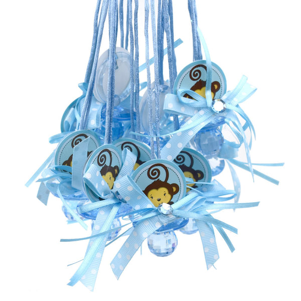 "Baby Pacifier ""Don't Say Baby"" Monkey Favor Necklace, Blue, 24-Count"