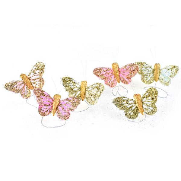 Mini Gold Glittered Butterfly Floral Accents, 1-3/4-Inch, 12-Piece