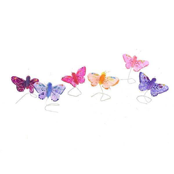 Mini Bright Butterfly Floral Accents, 1-3/4-Inch, 12-Piece
