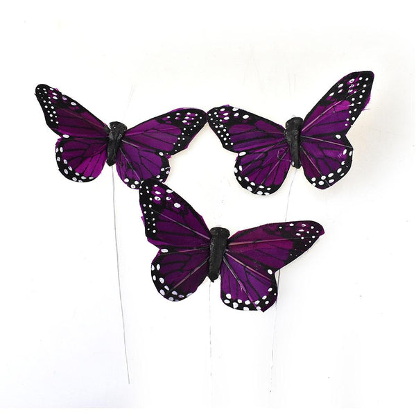 Monarch Butterfly Floral Accents, Plum, 3-Inch, 12-Piece