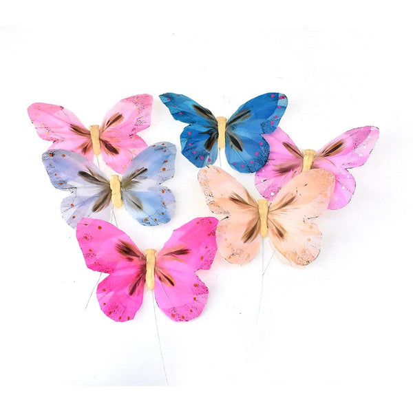 12-Pack, Pastel Feather Butterfly Floral Accents, 5-Inch, 12-Piece