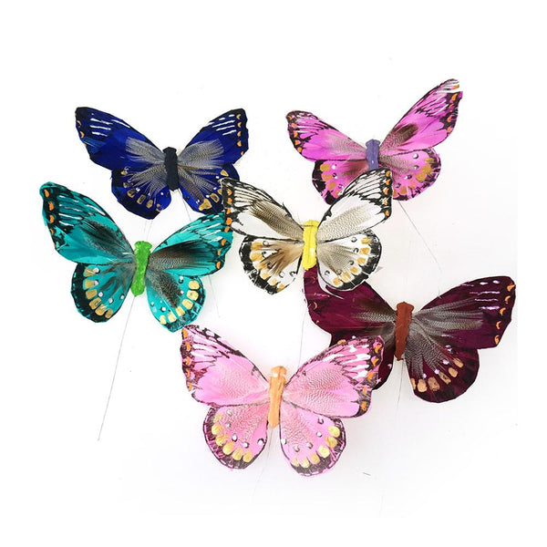 12-Pack, Bright Feather Butterfly Floral Accents, 5-Inch, 12-Piece
