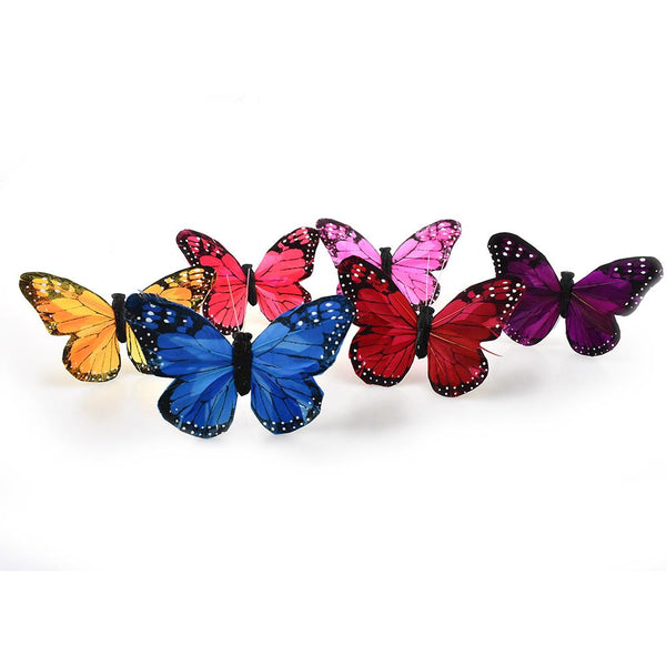 12-Pack, Feather Butterfly Floral Accents, 5-Inch, 12-Piece