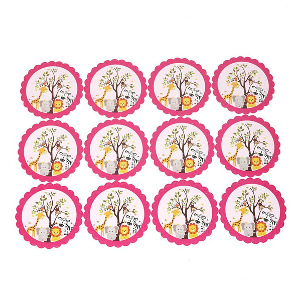 Baby Safari Seal Paper Stickers, Pink, 2-1/2-Inch, 12-Count