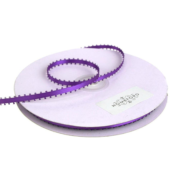 Picot-edge Double Faced Satin Ribbon, 3/16-Inch, 50 Yards, Purple