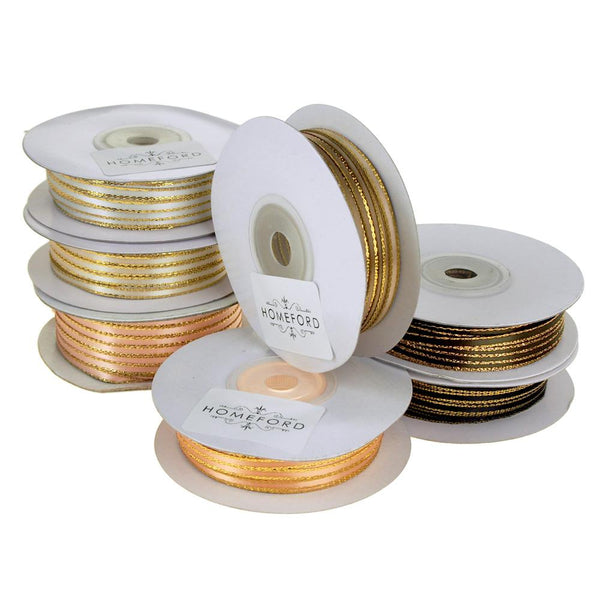 12-Pack, Double Faced Gold Trim Satin Ribbon, 1/8-Inch, 50-Yard