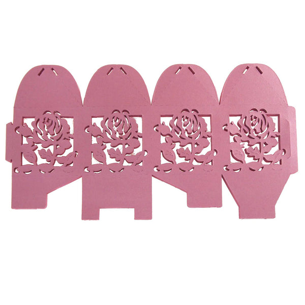 Laser Cut Favor Boxes, Rose, 2-Inch, 12-Piece, Pink