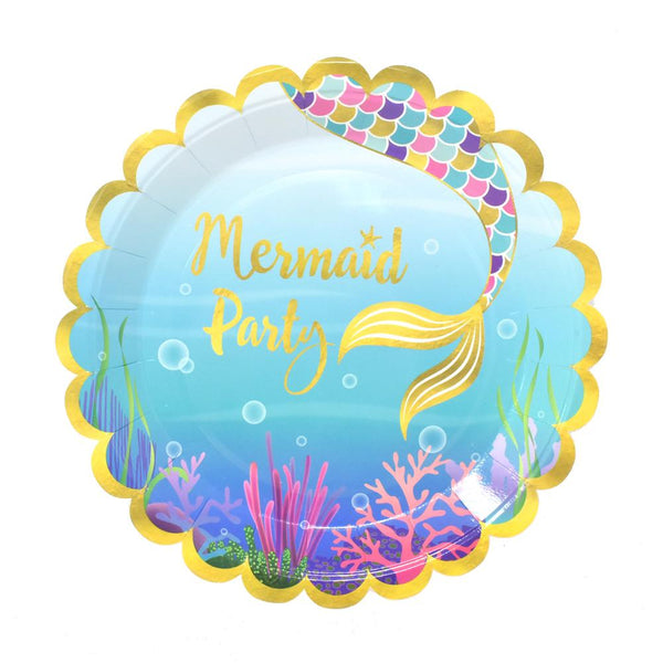 12-Pack, Mermaid Party Paper Plates, 9-Inch, 8-Count