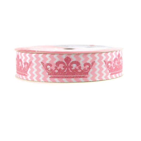 12-Pack, Princess Crown Chevron Grosgrain Ribbon, 7/8-inch, 3-yard, Light Pink
