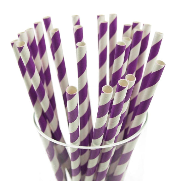 Candy Striped Paper Straws, 7-3/4-inch, 25-Piece,  Purple/White