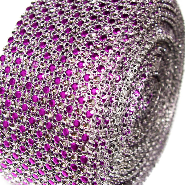 12-Pack, Two Tone Rhinestone Diamond Mesh Wrap Ribbon, 2-1/2-inch, 10-yard, Purple