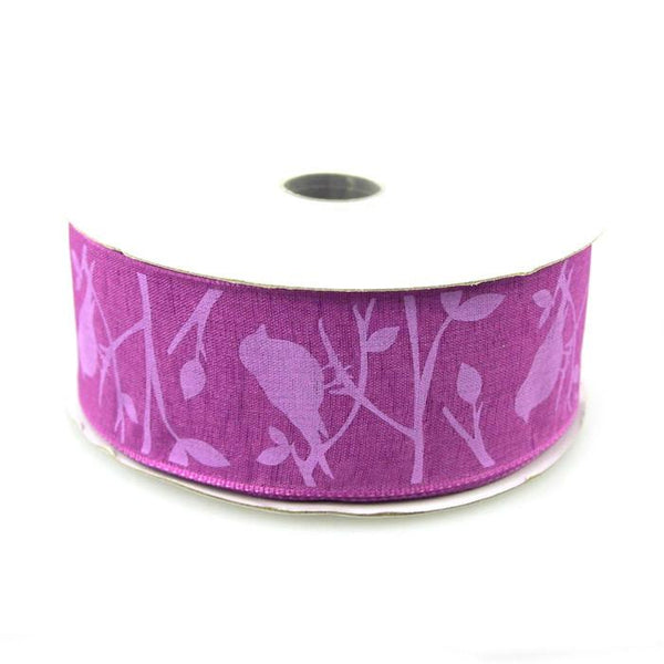 12-Pack, Birds Poly Ribbon Wired Edge, 1-1/2-Inch, 10 Yards, Purple - CLOSEOUT