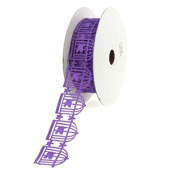 12-Pack, Bird in Cage Garland Polyester Ribbon, 1-1/4-inch, 25-yard, Purple