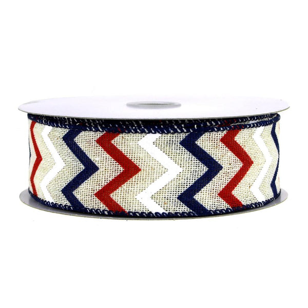12-Pack, Chevron Canvas Ribbon, Ivory/Red/Navy, 1-1/2-Inch, 10 Yards