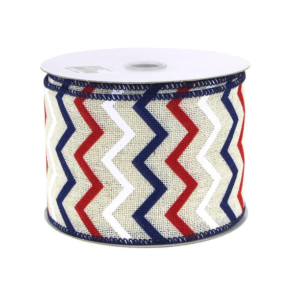 12-Pack, Chevron Canvas Ribbon, Ivory/Red/Navy, 2-1/2-Inch, 10 Yards