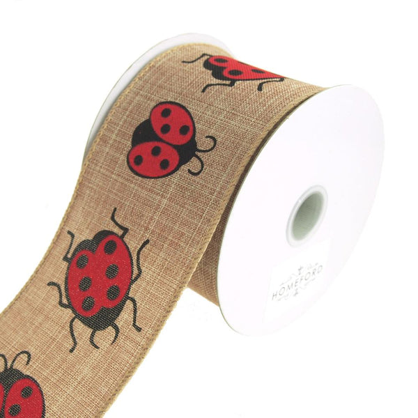 Lady Bug Print Canvas Ribbon Wired edge, 2-1/2-Inch, 10 Yards, Natural