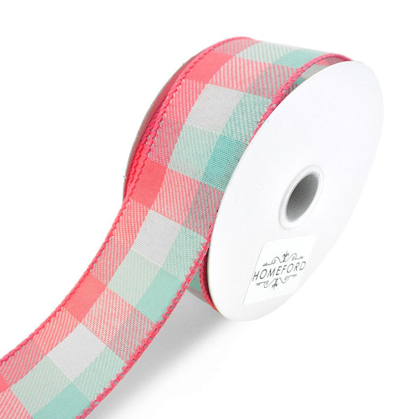 Checkered Plaid Linen Wired Ribbon, Aqua/Coral, 1-1/2-Inch, 10-Yard
