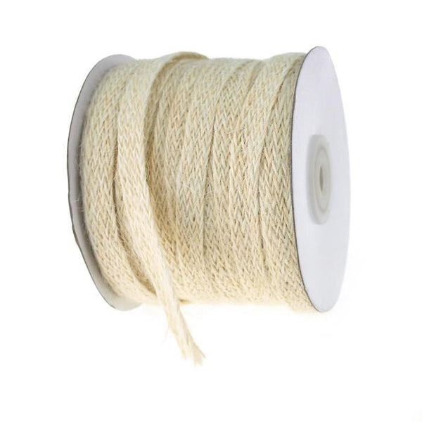 Braided Burlap Jute Ribbon, 3/8-Inch, 25 Yards Ivory