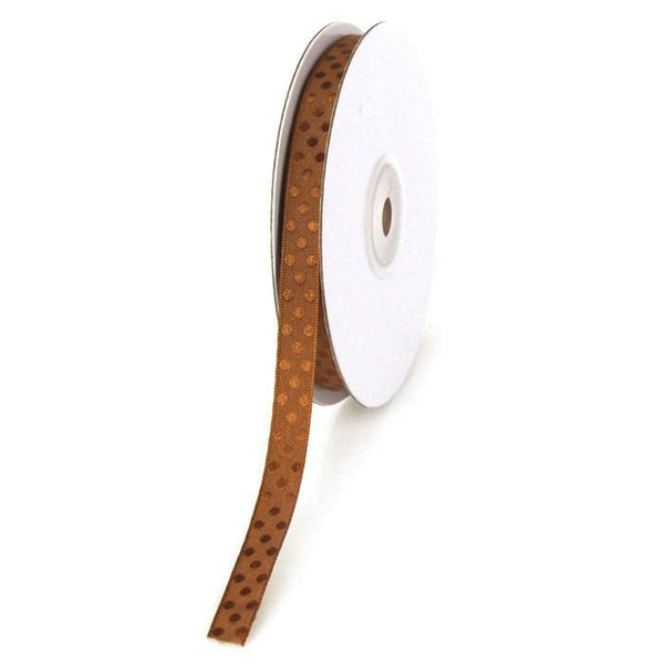 12-Pack, Glossy Polka Dot Polyester Ribbon, 3/8-inch, 25-yard, Brown