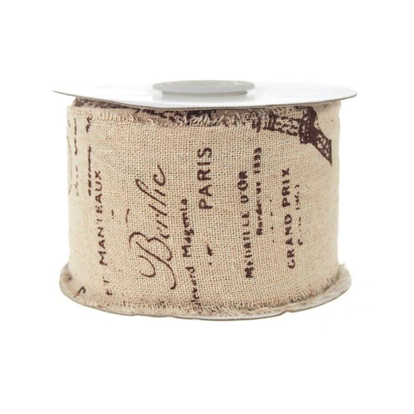 12-Pack, Linen Paris Eiffel and Stamps Brown Print Ribbon, 2-1/2-inch, 10-yard