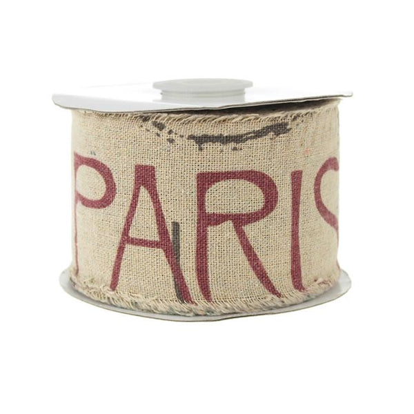 12-Pack, Linen Big Paris and Eiffel Print Ribbon, 2-1/2-inch, 10-yard