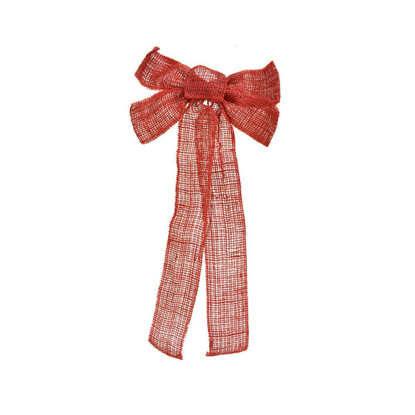 12-Pack, Burlap Jute Bow Christmas Ribbon, Red, 2-1/2-Inch