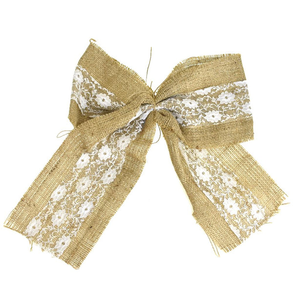 12-Pack, Burlap Jute Bow Christmas Ribbon, Natural, 5-Inch