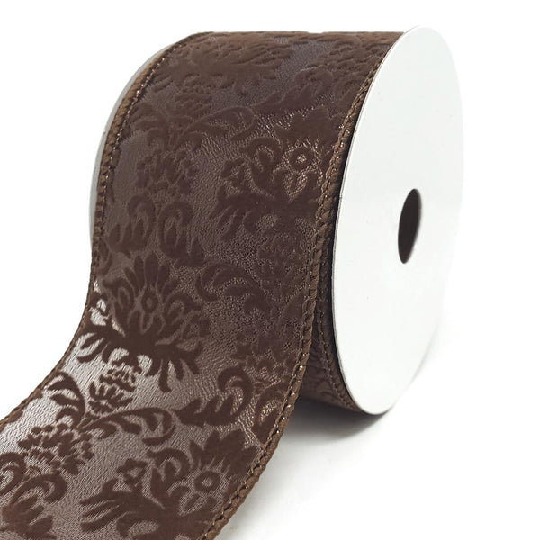 12 Pack, Velvet Fleur-De-Lis Sheer Wired Ribbon, Chocolate, 2-1/2-Inch, 10-Yard