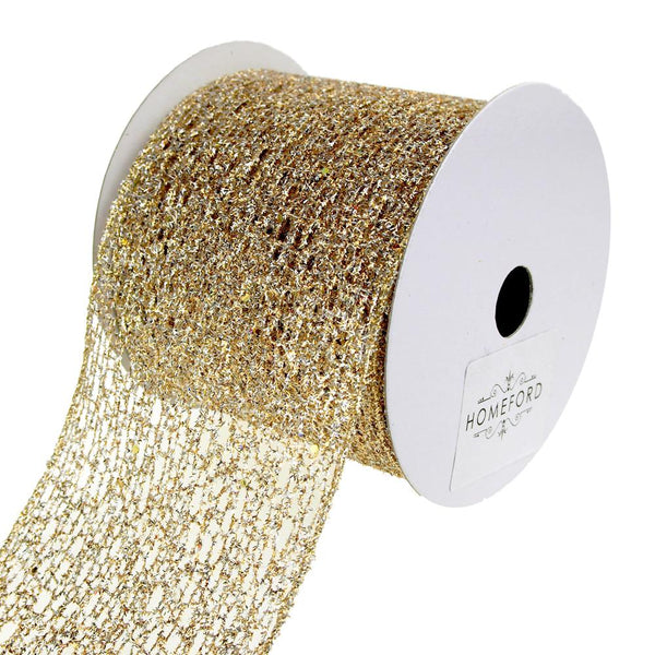 Open Weave Metallic Glitter Tinsel Mesh Christmas Ribbon, Gold/Silver, 4-Inch, 10 Yards
